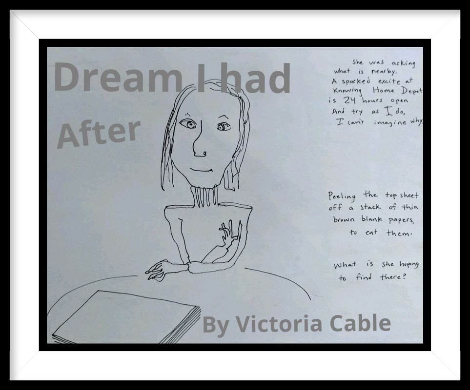 pen and ink drawing of woman sitting at table,wearing turtleneck,long fingers, smirk,  stack of paper on table, story written along side, describes dream by Victoria Cable Art  Picture