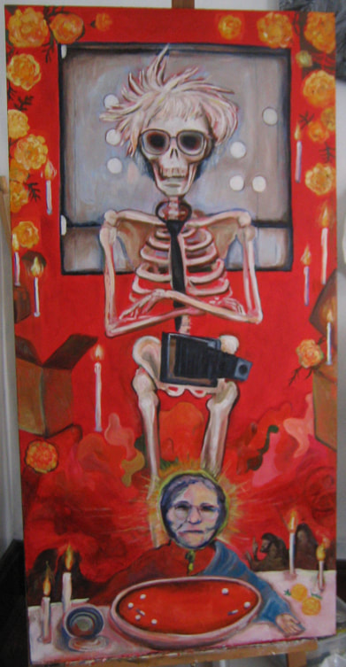 Picture of Day of the Dead, Andy Warhol, beaming as skeleton, wearing a camera with erect lens, standing over , Last Super, His mother, Julia Warhola, serving Andy, Cambells Tomato soup with pills