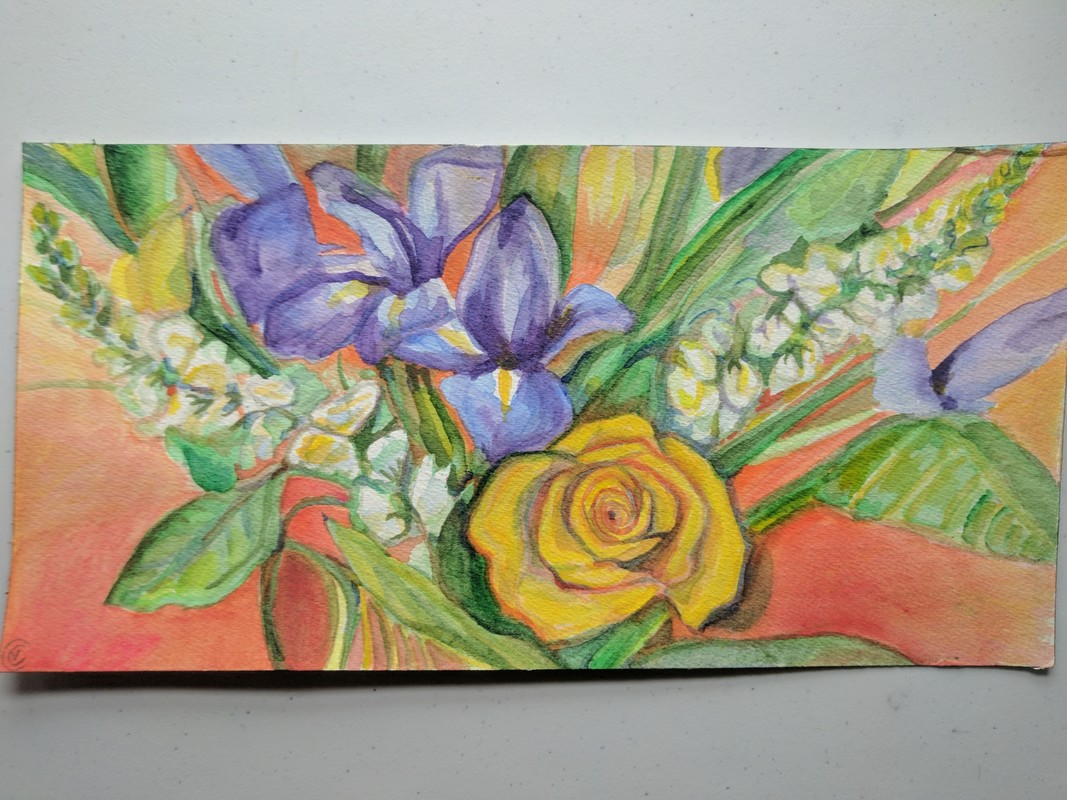 flowers, iris, lilies painted with bright colors in spread  by Victoria Cable 2017 Picture