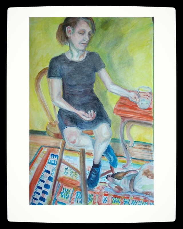 portrait of woman in chair, hand on glass, dog napping on patterned carpet at her feet , by Victoria Cable , vccart , gouache on paper, colorful
