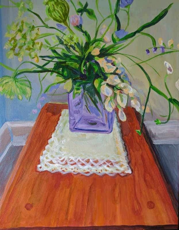 painting by Victoria Cable Art of bee garden flowers inside on table in a vase Picture