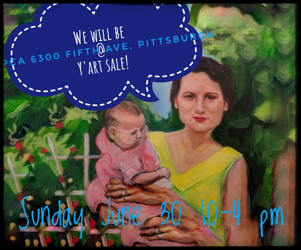 Picture fine art painting of woman holding a baby, colorful, warm, in the garden, rose garden, advertising a tent sale , Victoria Cable Art sale , in person in Pittsburgh, June 30, 2019 only