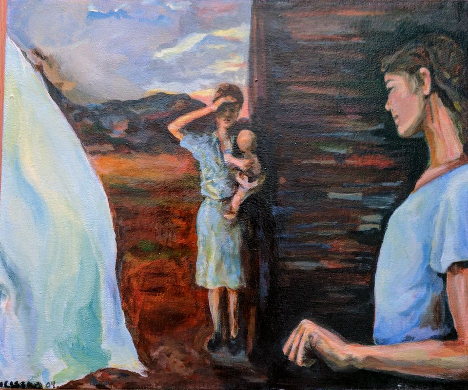 Mysterious Women story painting. Clothesline whipping sheet on left, Center woman shading eyes while holding a baby, looking at, woman on right holding undisclosed thing in hand, original oil painting Picture