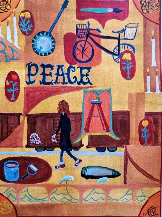 Day of the Dead painting by Victoria Cable, Margaret Kilgallen walking toward train, paint pen in hand, paints, ladder, banjo, bike, basket, surf board, candles, marigold, love, tribute to the artist Picture